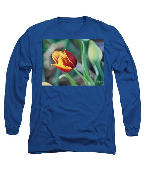 Long Sleeve T-Shirt featuring the painting Red And Yellow Tulip by Joshua Martin