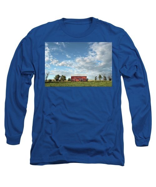Red Barn On The Prairie Long Sleeve T-Shirt
