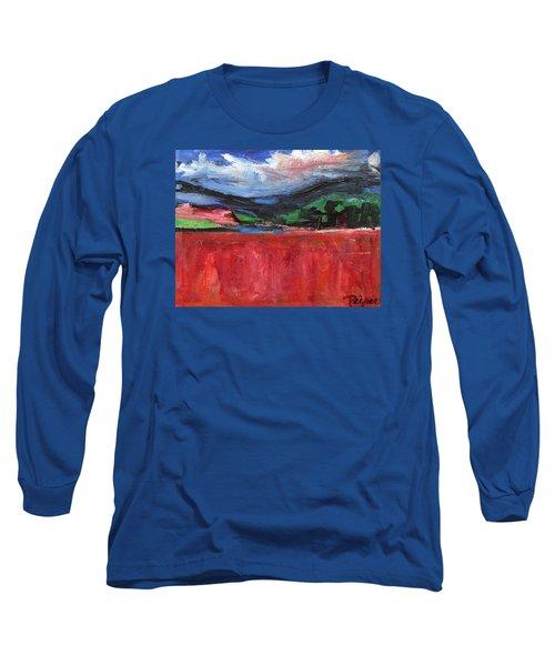 Red Field Landscape Long Sleeve T-Shirt