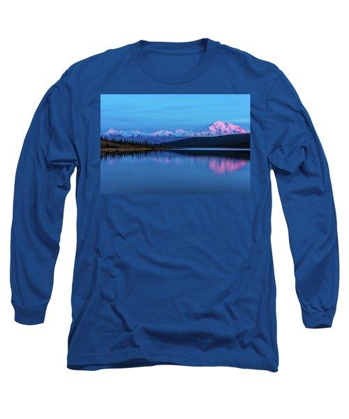 Sunset Reflections Of Denali In Wonder Lake Long Sleeve T-Shirt