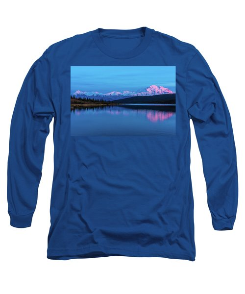 Sunset Reflections Of Denali In Wonder Lake Long Sleeve T-Shirt