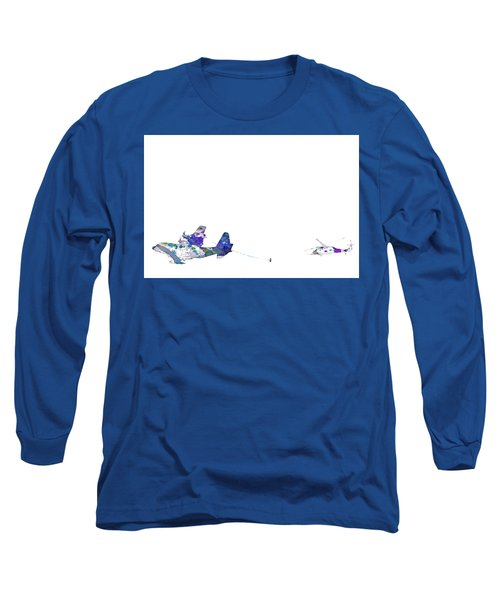 Long Sleeve T-Shirt featuring the digital art Refueling Watercolor On White by Bartz Johnson