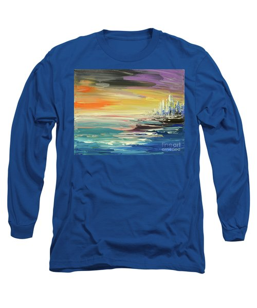 Long Sleeve T-Shirt featuring the painting Remote Harmonies by Tatiana Iliina