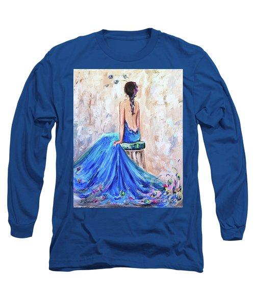 Rhapsody In Blue Long Sleeve T-Shirt by Jennifer Beaudet