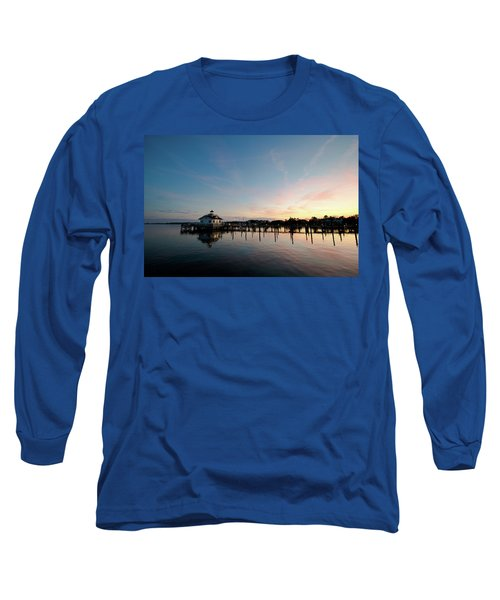 Roanoke Marshes Lighthouse At Dusk Long Sleeve T-Shirt by David Sutton