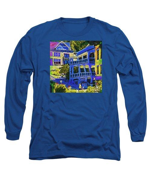 Roche Harbor Street Scene Long Sleeve T-Shirt by Kirt Tisdale
