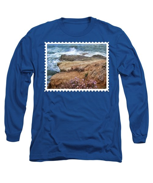 Rocks And Plants In The Central California Surf Oil Painting Long Sleeve T-Shirt