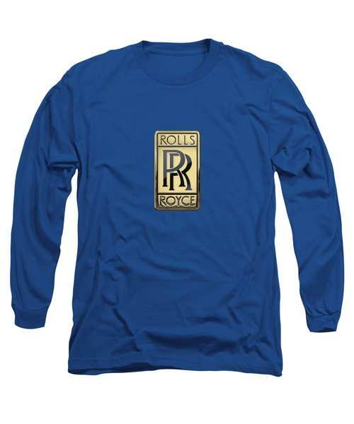 Rolls Royce - 3d Badge On Blue Long Sleeve T-Shirt by Serge Averbukh