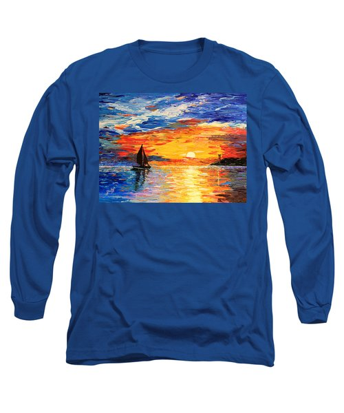Long Sleeve T-Shirt featuring the painting Romantic Sea Sunset by Georgeta  Blanaru