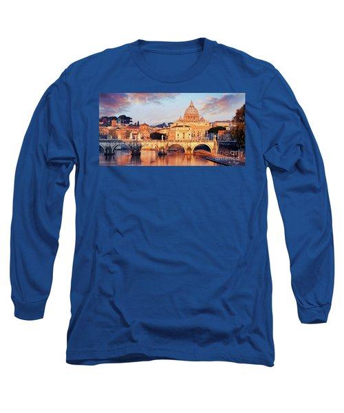 Rome The Eternal City - Saint Peter From The Tiber Long Sleeve T-Shirt