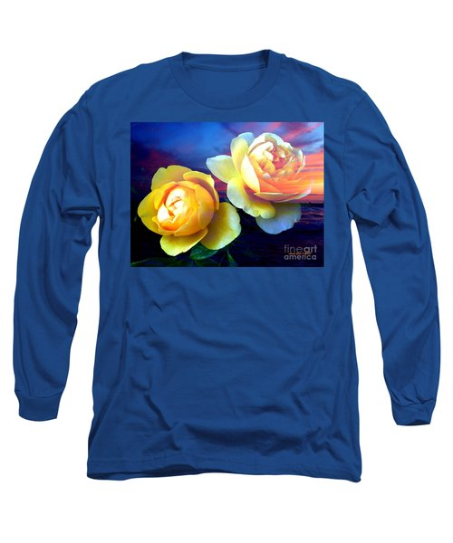 Roses Basking In A Ocean Sunset Long Sleeve T-Shirt by Annie Zeno