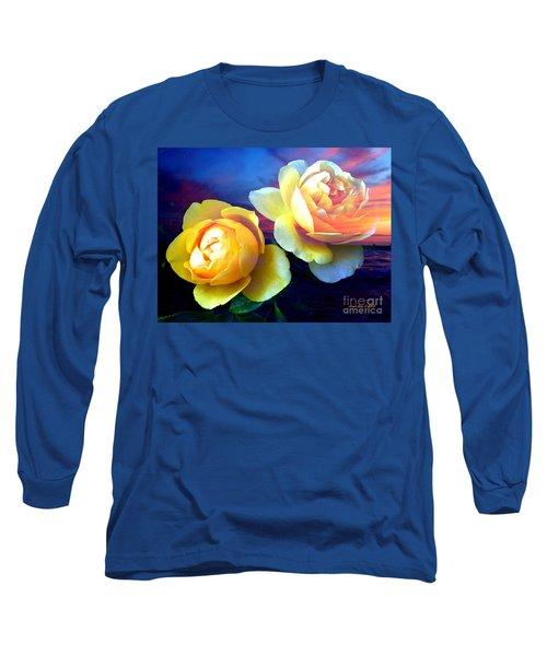 Roses Basking In A Ocean Sunset Long Sleeve T-Shirt