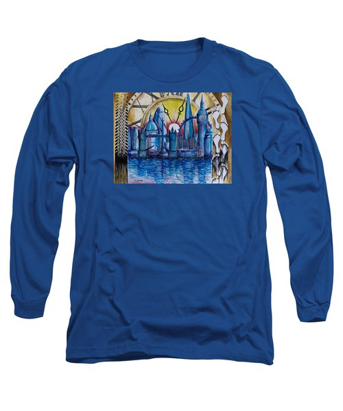 Long Sleeve T-Shirt featuring the painting Rush Hour In London by Geni Gorani