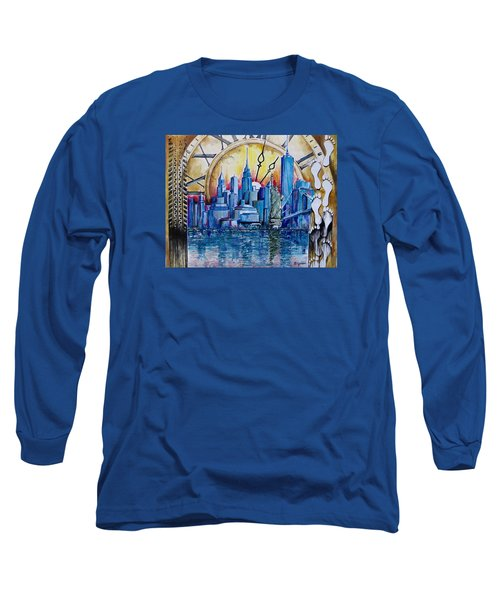 Long Sleeve T-Shirt featuring the painting Rush Hour In New York  by Geni Gorani