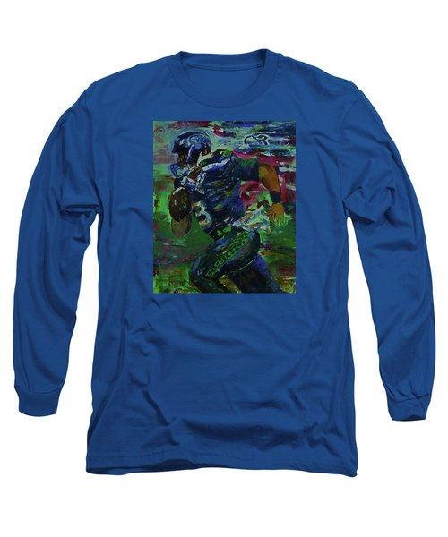 Long Sleeve T-Shirt featuring the painting Russell Wilson - Seahawks Football by Walter Fahmy