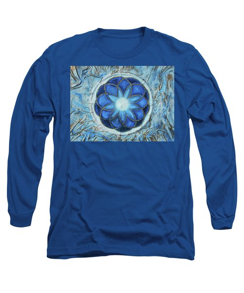 Long Sleeve T-Shirt featuring the mixed media Sacred Geometry by Angela Stout
