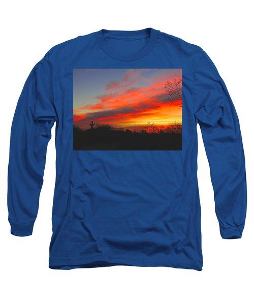 Saguaro Winter Sunrise Long Sleeve T-Shirt