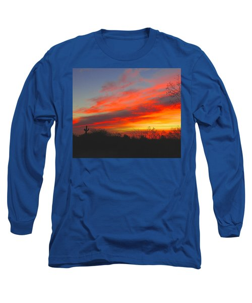 Saguaro Winter Sunrise Long Sleeve T-Shirt