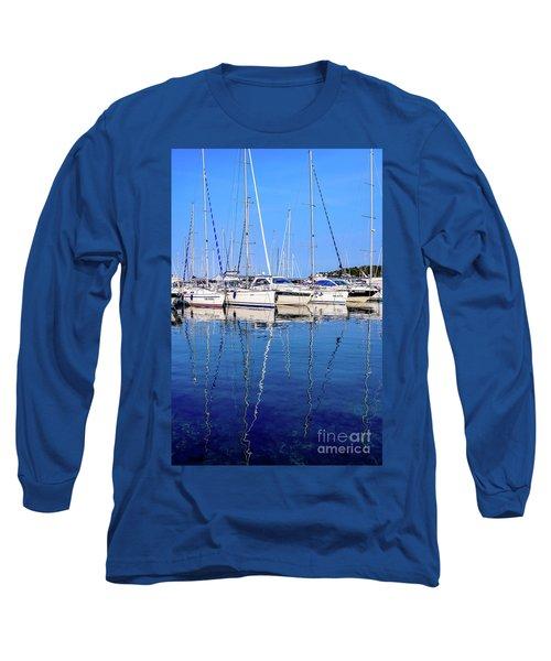 Sailboat Reflections - Rovinj, Croatia  Long Sleeve T-Shirt