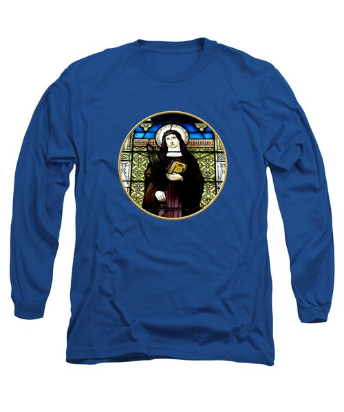 Saint Amelia Stained Glass Window In The Round Long Sleeve T-Shirt