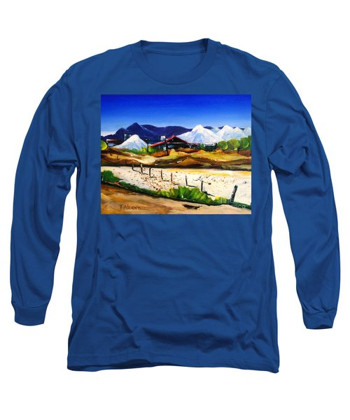 Long Sleeve T-Shirt featuring the painting Salt Works - Port Alma by Therese Alcorn