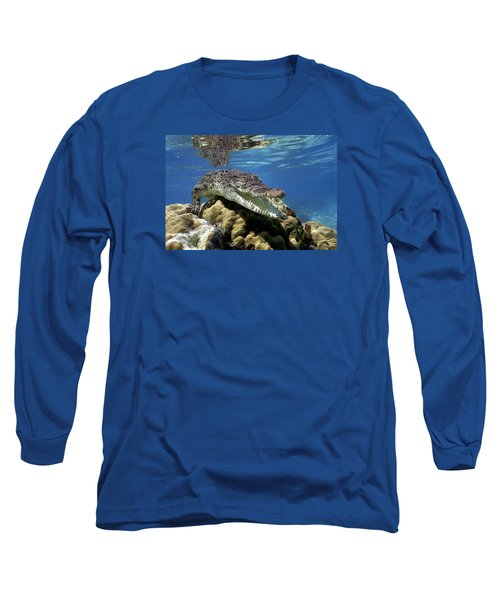 Saltwater Crocodile Smile Long Sleeve T-Shirt by Mike Parry