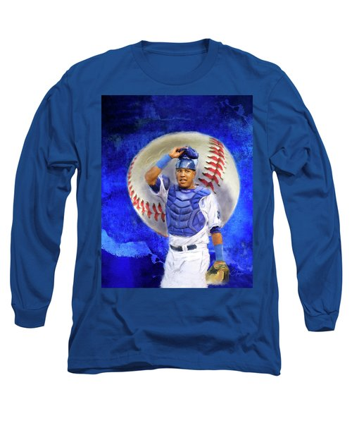 Long Sleeve T-Shirt featuring the mixed media Salvador Perez-kc Royals by Colleen Taylor