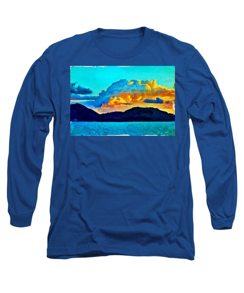 Long Sleeve T-Shirt featuring the painting San Juan Seascape by Joan Reese
