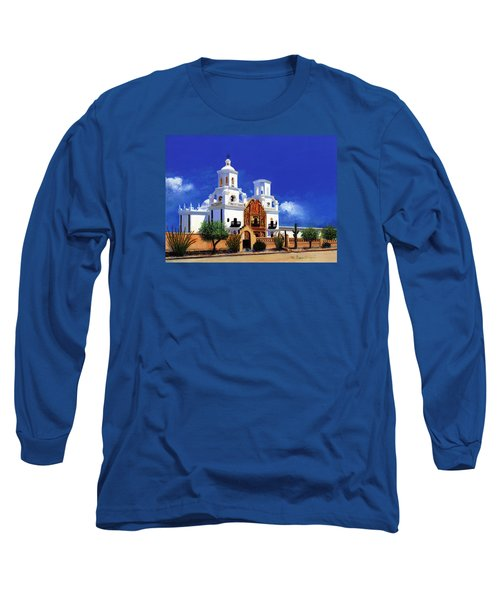 Long Sleeve T-Shirt featuring the painting San Xavier Del Bac Mission by M Diane Bonaparte