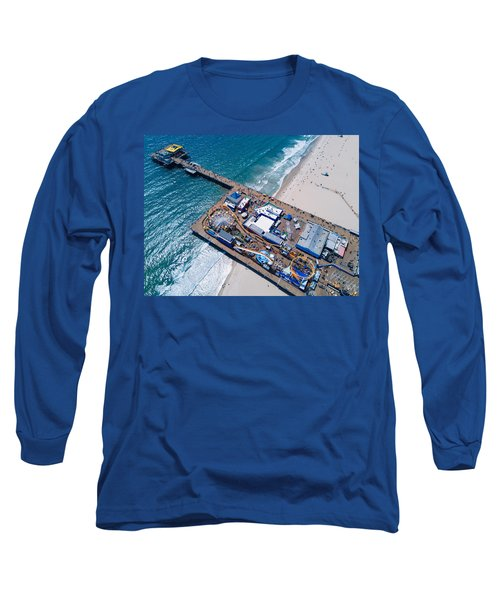 Santa Monica Pier From Above Side Long Sleeve T-Shirt