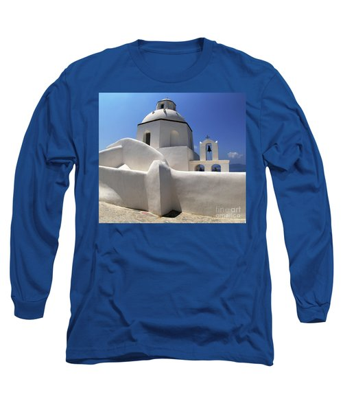 Long Sleeve T-Shirt featuring the photograph Santorini Greece Architectual Line 4 by Bob Christopher