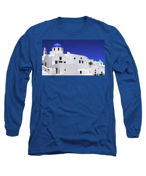 Long Sleeve T-Shirt featuring the photograph Santorini Greece Architectual Line 6 by Bob Christopher