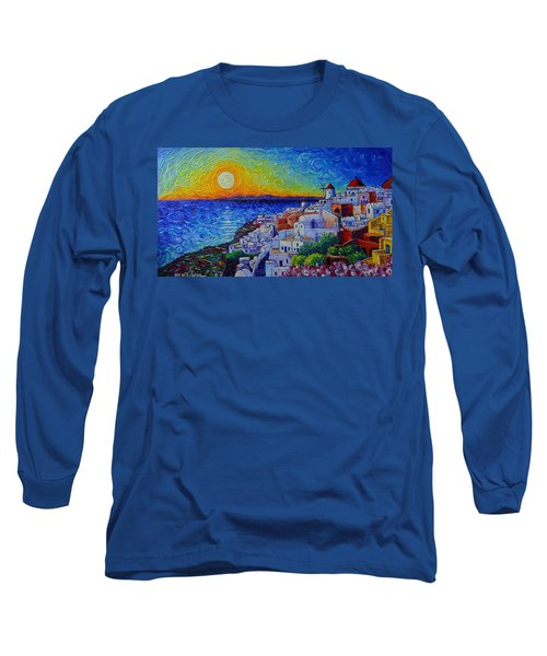 Santorini Oia Sunset Modern Impressionist Impasto Palette Knife Oil Painting By Ana Maria Edulescu Long Sleeve T-Shirt