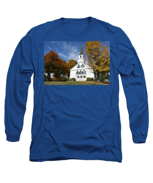Scenic Church In Autumn Long Sleeve T-Shirt by Lois Lepisto