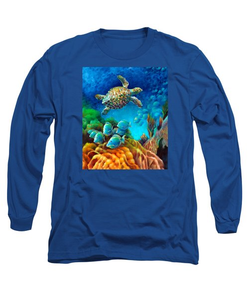 Long Sleeve T-Shirt featuring the painting Sea Escape IIi - Gemstone Hawksbill Turtle by Nancy Tilles