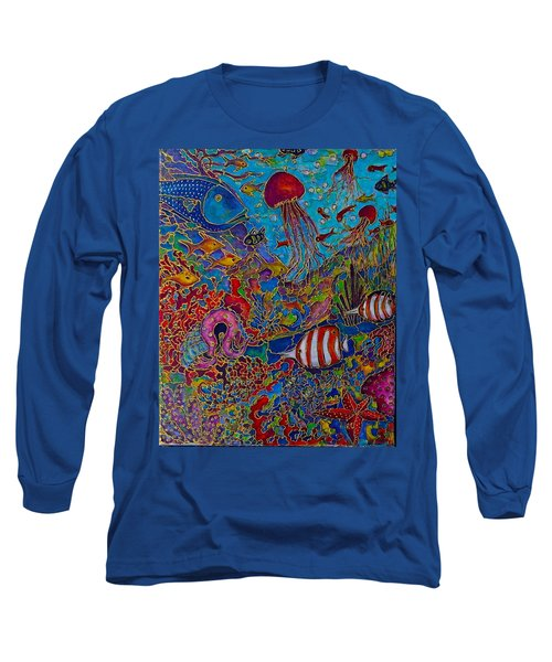 Long Sleeve T-Shirt featuring the painting Sea World by Rae Chichilnitsky