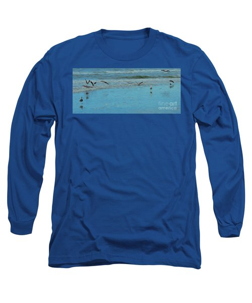 Seagulls At Myrtle Beach Long Sleeve T-Shirt by Mim White