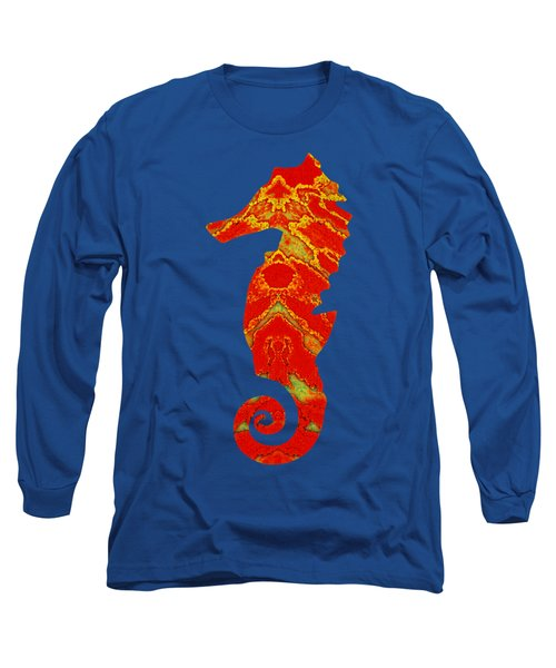 Long Sleeve T-Shirt featuring the mixed media Seahorse Turquoise And Orange Left Facing by Rachel Hannah