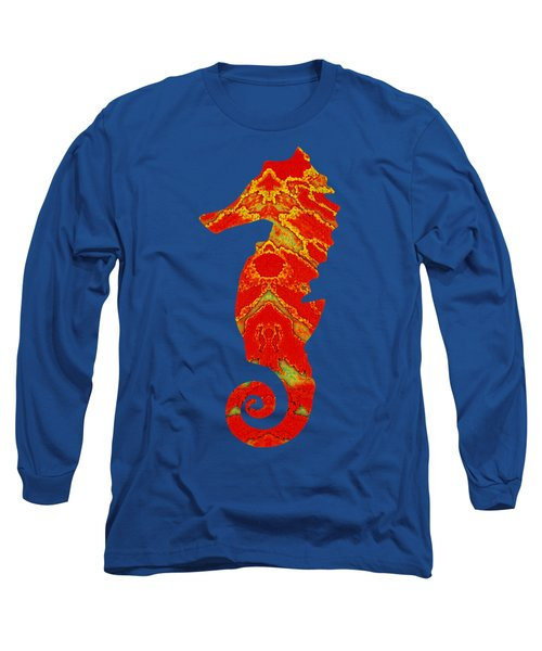 Seahorse Turquoise And Orange Left Facing Long Sleeve T-Shirt