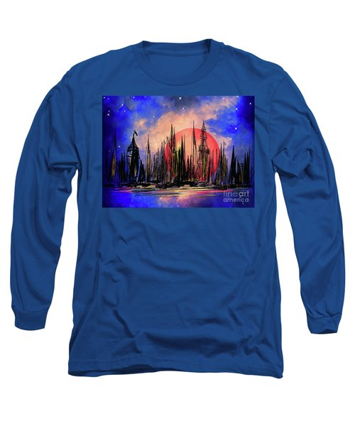 Long Sleeve T-Shirt featuring the drawing Seaport by Andrzej Szczerski