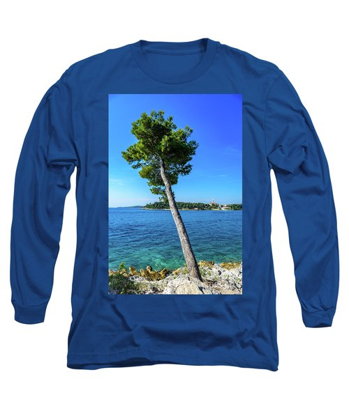 Seaside Leaning Tree In Rovinj, Croatia Long Sleeve T-Shirt