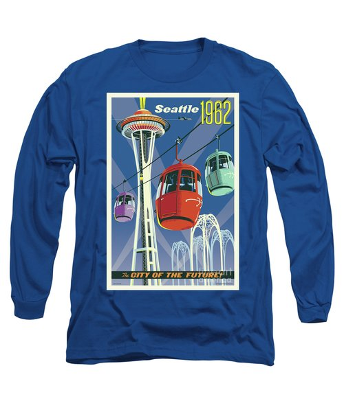 Seattle Poster- Space Needle Vintage Style Long Sleeve T-Shirt