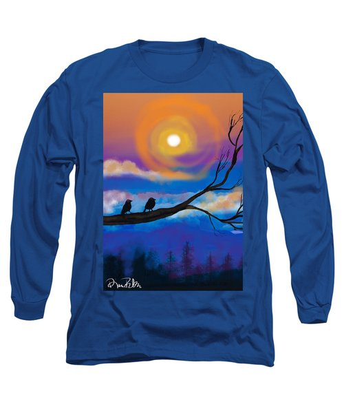 Long Sleeve T-Shirt featuring the digital art Sharing The Sunset-2 by Diana Riukas