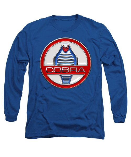 Shelby Ac Cobra - Original 3d Badge On Blue And White Long Sleeve T-Shirt by Serge Averbukh