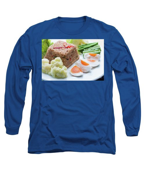 Long Sleeve T-Shirt featuring the photograph Shrimp Paste Fried Rice by Atiketta Sangasaeng