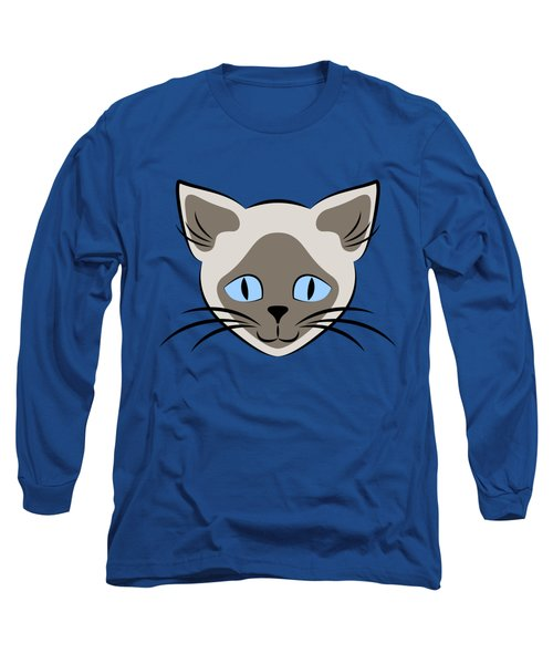 Siamese Cat Face With Blue Eyes Light Long Sleeve T-Shirt