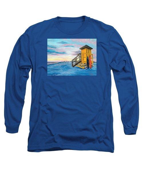 Siesta Key Life Guard Shack At Sunset Long Sleeve T-Shirt by Lloyd Dobson