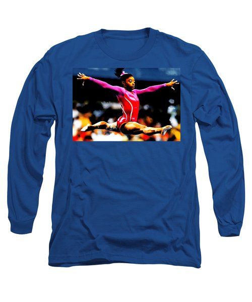 Simone Biles Long Sleeve T-Shirt by Brian Reaves