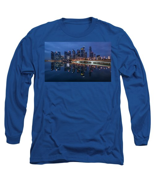 Singapore Skyline Reflection Long Sleeve T-Shirt
