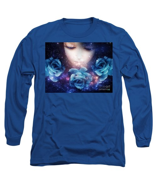 Long Sleeve T-Shirt featuring the digital art Sleeping Rose by Mo T